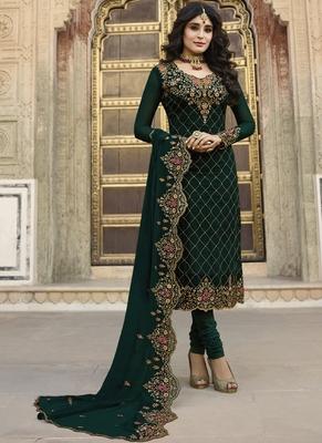 Dark-Green Embroidered Georgette Semi Stitched Salwar With Dupatta