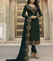 Dark-Green Embroidered Georgette Semi Stitched Salwar With Dupatta