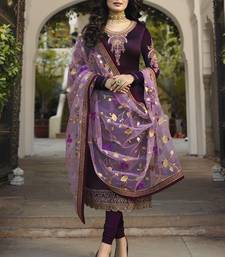 Wine Embroidered Satin Polyster Salwar