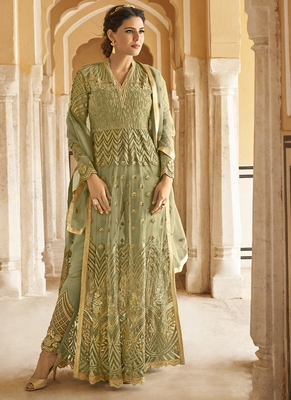Olive embroidered net salwar