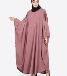 Mauve plain polyester abaya
