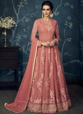 Dark-pink embroidered georgette salwar