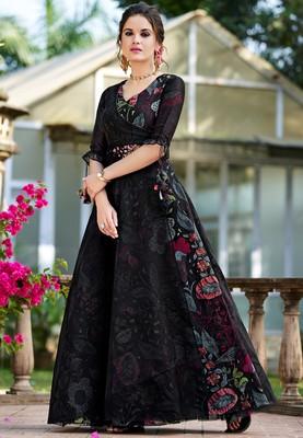 Black printed organza party-wear-kurtis