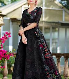 Black printed organza party-wear-kurtis