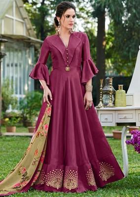 Purple plain silk silk-kurtis
