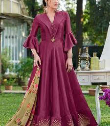 Purple plain silk silk-kurtis