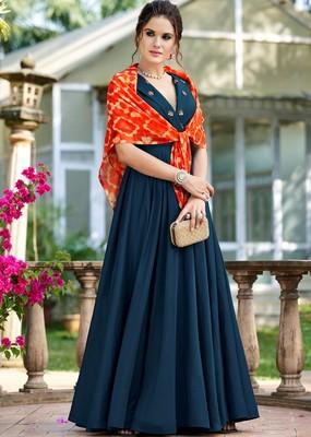 Blue plain silk party-wear-kurtis