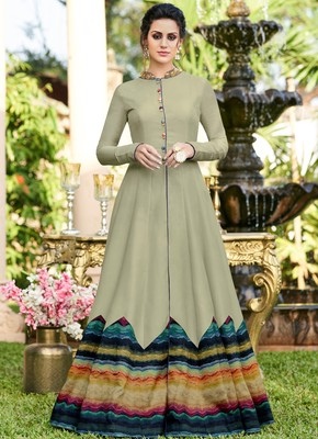 Grey printed silk party-wear-kurtis