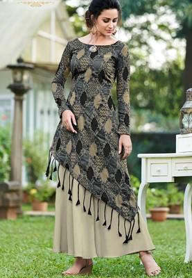 Black printed silk party-wear-kurtis