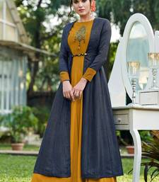 Mustard embroidered silk party-wear-kurtis