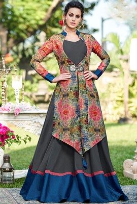 Charcoal printed silk party-wear-kurtis