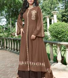Coffee embroidered silk party-wear-kurtis