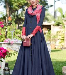 Blue plain georgette party-wear-kurtis