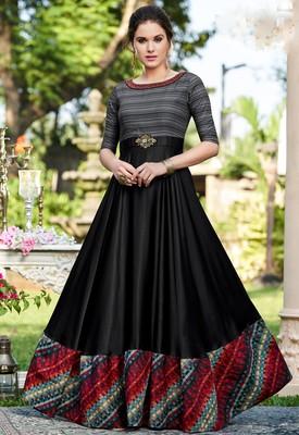 Black printed georgette party-wear-kurtis