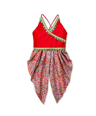 red printed dupion silk top with dhoti for girls