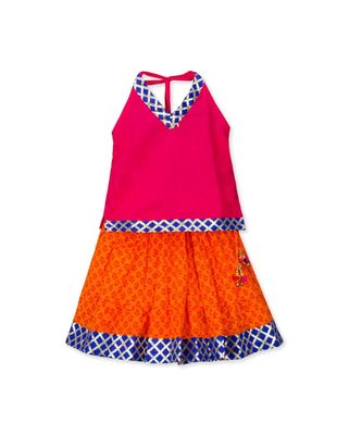 pink printed cotton stitched kids tops