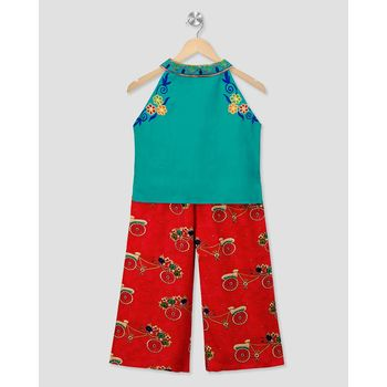 green embroidered cotton stitched kids tops