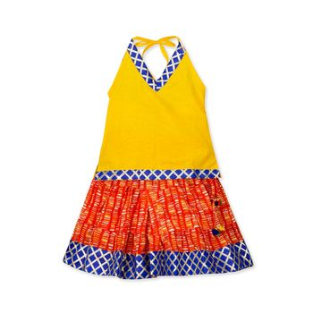 yellow printed cotton stitched kids tops