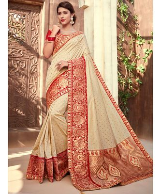 off white embroidered silk blend saree with blouse