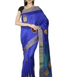 CLASSICATE fom the house of The Chennai Silks Women's  Blue Kalamkari Dupion Silk With Blouse