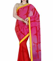 CLASSICATE fom the house of The Chennai Silks Women's Red Georgette Saree With Blouse