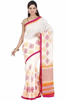 CLASSICATE fom the house of The Chennai Silks Women's Off_White Bhagalpuri Saree With Blouse