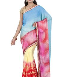 CLASSICATE fom the house of The Chennai Silks Women's Multicolor Half & Half Georgette Saree With Blouse