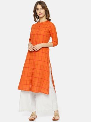 Orange printed cotton ethnic kurtis