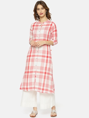 Peach printed cotton ethnic kurtis