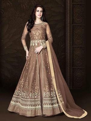 Light Brown Designer Heavy Embroidered Anarkali Suit