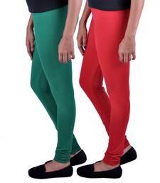 Buy Combo Pack of 2 Cotton , Lycra Leggings- Bottle Green & Red leggings-combo online