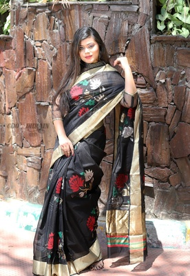 Black hand woven pure organza saree with blouse