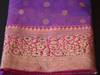 Dark lavender hand woven chanderi silk saree with blouse