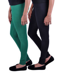 Buy Combo Pack of 2 Cotton , Lycra Leggings- Bottle Green & Black legging online