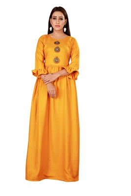 Mustard color ball type rayon Gown