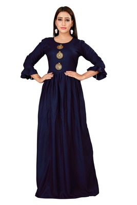 Navy color ball type rayon Gown