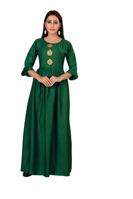 Green color ball type rayon Gown