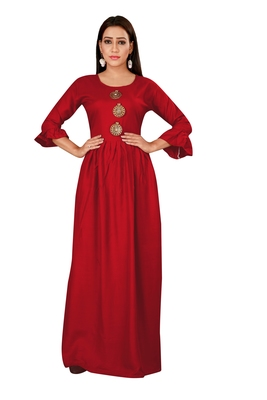 Maroon color ball type rayon Gown