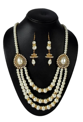 Pearl 3 Line pendant Necklace Set