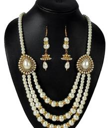 Buy Pearl 3 Line pendant Necklace Set eid-jewellery online