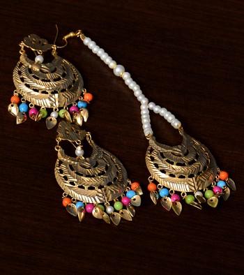 Multicolored Beaded Tradional Look Leafy Dangler Earrings cum Maang Tikka