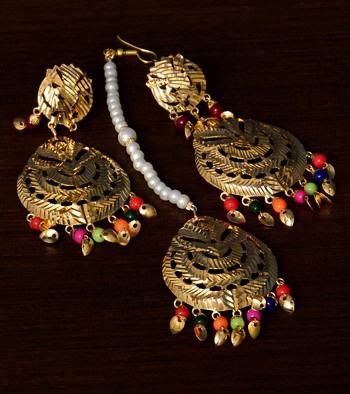 Traditional Look Multicolored Beaded and Leafy Dangler Earrings cum Maang Tikka