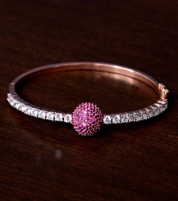 Rose Gold Plated Ruby Stone and Diamond Embellished Light Weight Bracelet