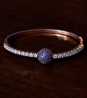Rose Gold Plated Sapphire Stone and Diamond Embellished Light Weight Bracelet
