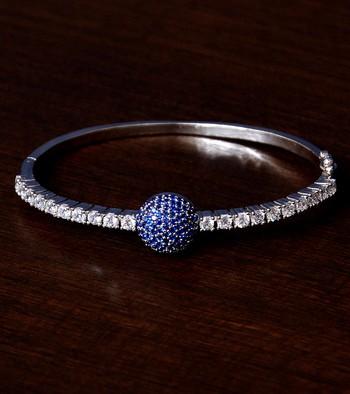 Rhodium Plated Sapphire Stone and Diamond Embellished Light Weight Bracelet