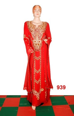 Orange embroidered georgette islamic-kaftans