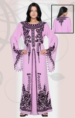 Pink embroidered georgette islamic-kaftans
