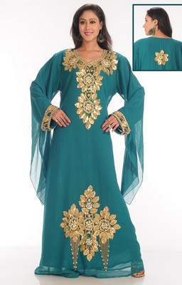 Sky-blue embroidered georgette islamic-kaftans