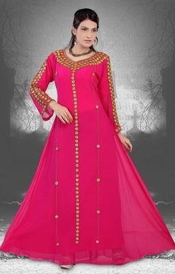 Rani-pink embroidered georgette islamic-kaftans