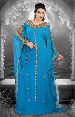 Sky-blue embroidered georgette islamic-kaftans